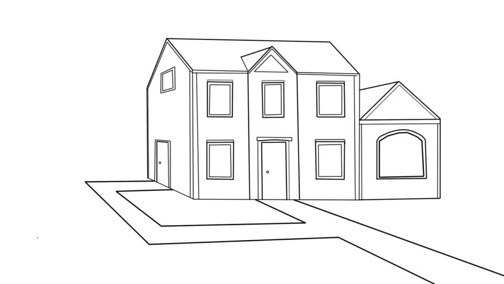 Aprender a desenhar casa de lado 2 1024x578 - Como desenhar uma casa de lado