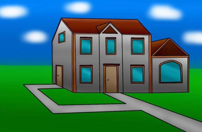 Como desenhar uma casa de lado