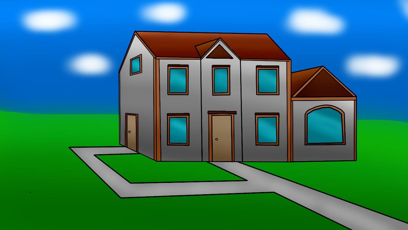 Aprender a desenhar casa de lado 3 - Como desenhar uma casa de lado