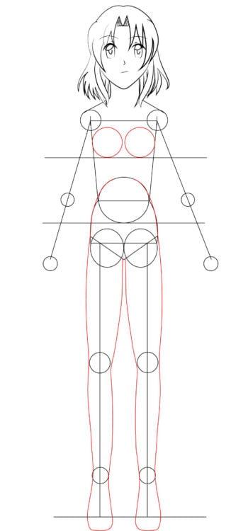 Corpo F 14 1 e1573395898190 - Como desenhar um personagem de anime passo a passo!
